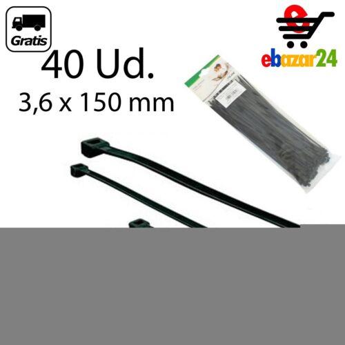 40 bridas 3,6 x 150 mm Negras brida abrazadera nylon plastico Cable ties *Envío