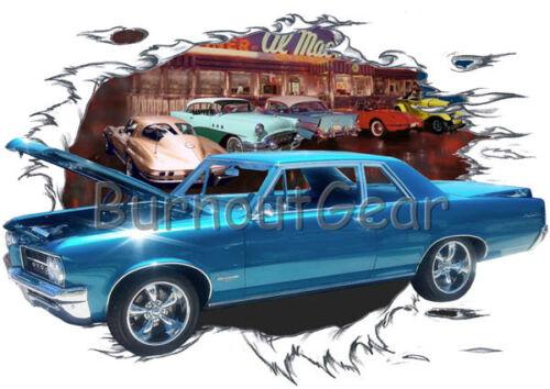 1964 Blue Pontiac GTO b Custom Hot Rod Diner T-Shirt 64 Muscle Car Tees
