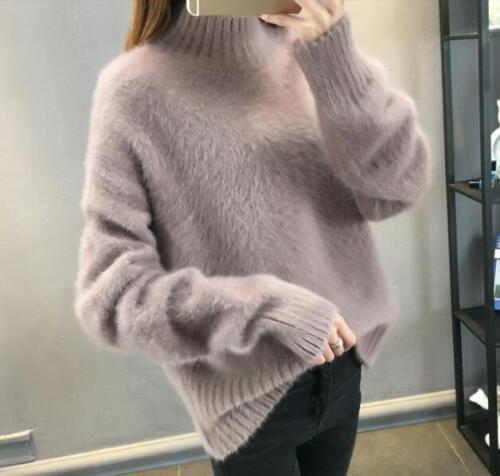 pull montant fourrure manches femmes pull à en tricot de col xl longues S chaud Hiver douce 7SEB0nHI