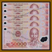 5 Pcs x Vietnam (Vietnamese) 50 Thousand (50000) Dong, 2012 P-121 Polymer Unc