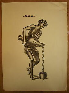 Engraving-Signed-Decaris-Albert-1901-1988-Holder-Water-in-the-Ancient
