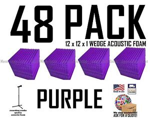 48-pack-PURPLE-Acoustic-Wedge-Studio-Soundproofing-Foam-Wall-Tiles-12x12x1