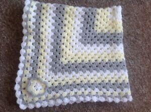 New Handmade Crochet Granny Square Baby Blanket Yellow Grey And White