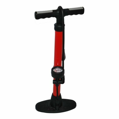CYCLE ENTHUSIAST TRACK PUMP 120 PSI FLOOR PUMP WITH GAUGE FOR ALL VALVES RED