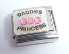 DADDY'S PRINCESS 9mm Italian Charm PINK Gems I Love My Daughter Little Girl N16
