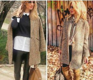 ZARA WOOL FAUX Fur Coat Jacket With Lapels Wolle Mantel