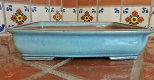 "Japanese 10"" High Quality Blue Glazed Hi Temp Fired Bonsai Pot Bonsai Pots"