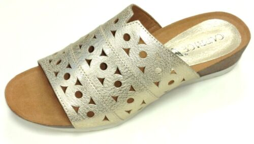 Caprice Damen Schuhe Sandale Pantolette bequem 27100 Leder gold metallic