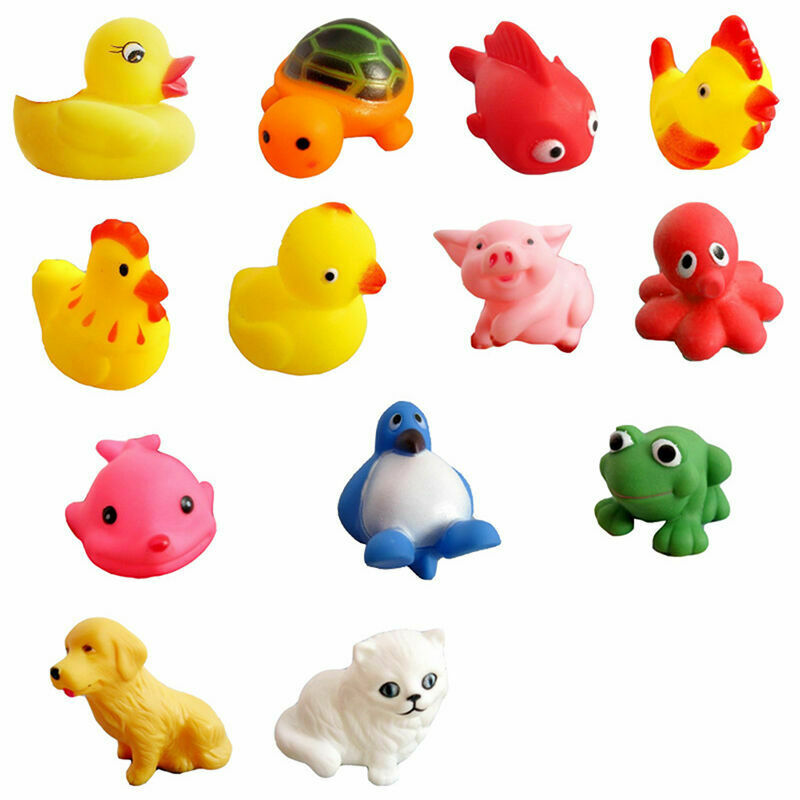 13x Baby Bath Toys Squeaky Rubber Animal Floating Water Kids Toy. Children L4Y9