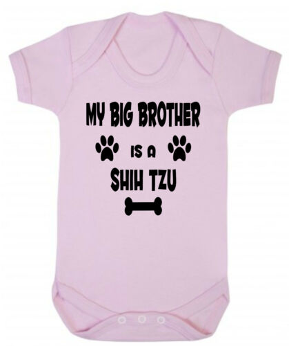 or Sister My Big Brother Is A Shih Tzu Dog Blue or Pink Cotton Baby Bodysuit