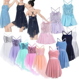 Girls-Lyrical-Ballet-Dance-Dress-Leotard-Tutu-Skirt-Gym-Dancewear-Party-Costumes