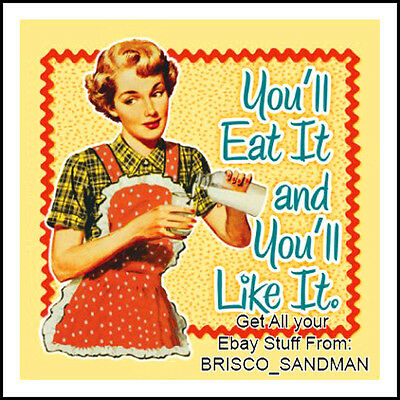 "Fridge Fun Refrigerator Magnet ""YOU'LL EAT IT AND YOU'LL LIKE IT."" Retro Funny"