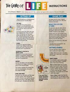 Original Juego De La Vida Instrucciones De Reemplazo 1991 Ebay