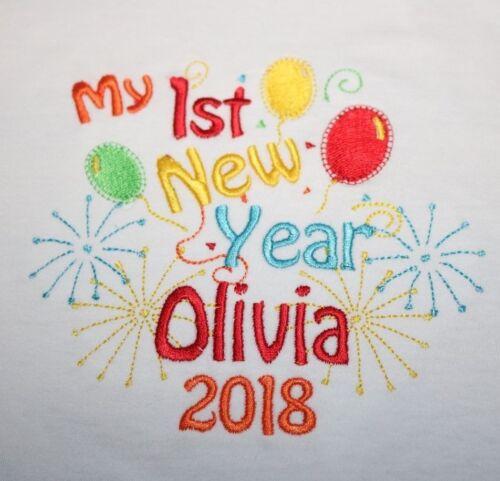 Personnalisé 1st Première ou Happy New Year Baby Bib 2020 ajouter tout nom
