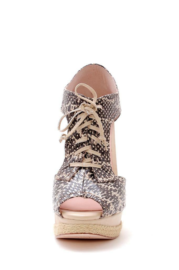Plomo Esther Wedge lace Light Peach Snake Snakeskin T-Strap Cut-out lace Wedge up Sandal 968678