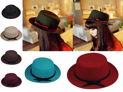 Vintage Mens Womens Unisex Bowknot Wool Bowler Bucket Flat Top Derby Fedora Hats