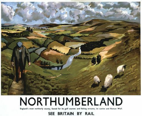 A2  Reprint British Railways Northumberland Railway Poster A3