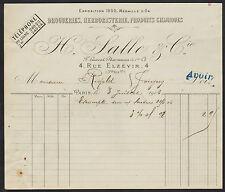 """PARIS (III°) DROGUERIE HERBORISTERIE PRODUITS CHIMIQUES """"H. SALLE & Cie"""" en 1906"""