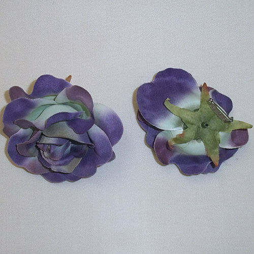 "2X  Large Purple  Rose Artificial Silk Flower 4.0/""  Head Hair Clip Craft"