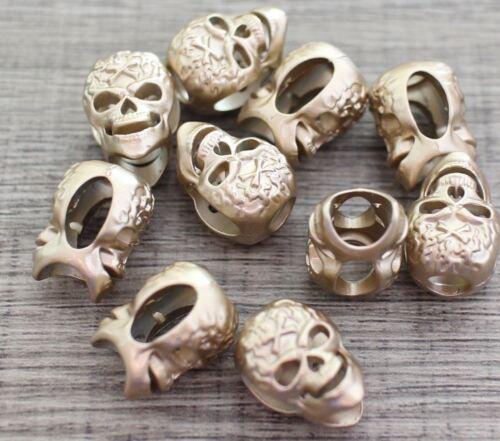 Skull Bead Lot 10 sable d/'or Diable Paracord Cordon Bracelets Charme Artisanat Bricolage
