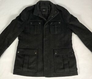 Mens-Hugo-Boss-Wool-Dress-Coat-Fullzip-with-Snaps-Quilted-Liner-Black-Size-42R