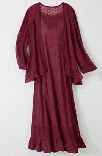 Seventh Avenue Rayon Ruby Burgundy Maroon Jacket Dress Satin Sheer Lace Pioneer