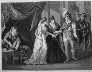 ENGLAND KING HENRY V & CATHERINE VALOIS TREATY TROYES ~ 1860 Art Print Engraving