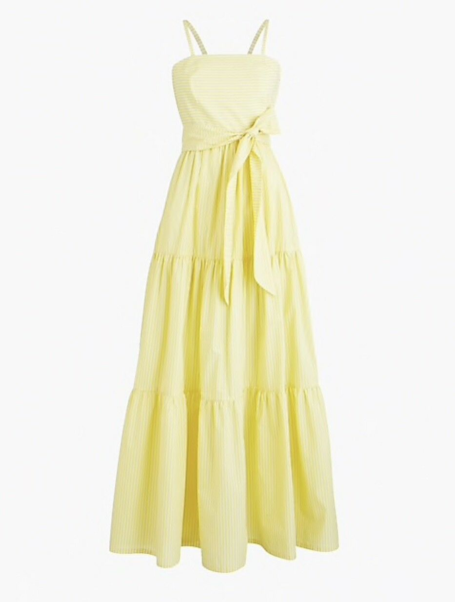 J.CREW TIErot MAXI DRESS IN STRIPE Größe 6 BRIGHT LEMON J3165