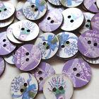 New 10/40/200pcs Lavender Wood Sewing Buttons Craft Mix Bulk Lots