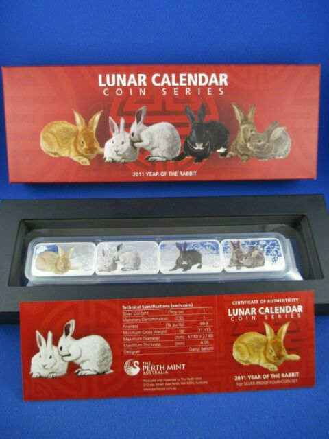 2011 YEAR OF THE RABBIT - LUNAR CALENDAR COIN SERIES - 4x 1oz SILVER RECTANGULAR