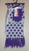 Bongo Three (3) Piece Polka Dot Hat Scarf & Gloves Set Light Green & Purple NWT