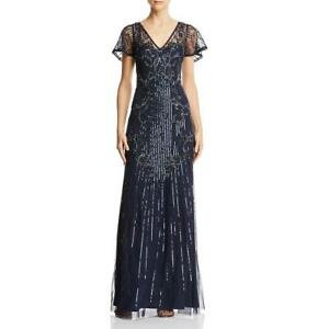 Aidan-Mattox-Womens-Navy-Beaded-V-Neck-Formal-Evening-Dress-Gown-2-BHFO-5420