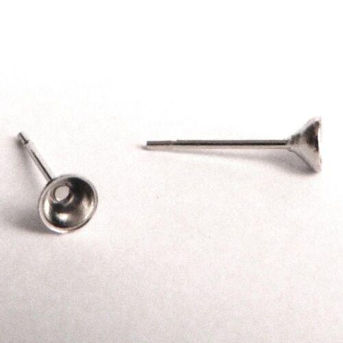 20 support tiges clous boucles d/'oreilles collage cristal argenté SANS NICKEL