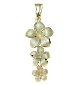 SOLID-14K-YELLOW-GOLD-HAWAIIAN-3-PLUMERIA-FLOWER-DANGLING-PENDANT-CHARM