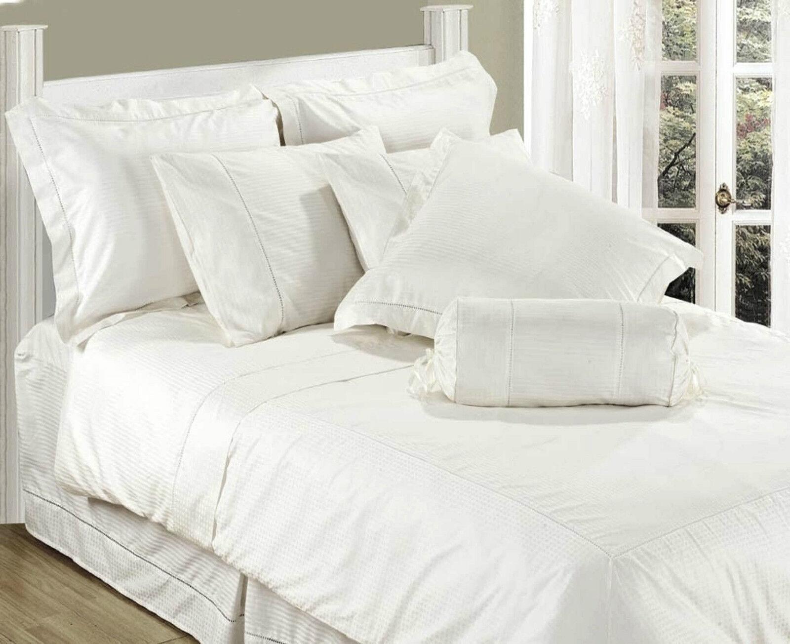 KING SIZE FLAT SHEET WHITE LUXURY 100% COTTON 330 THREAD COUNT STRIPE SATEEN