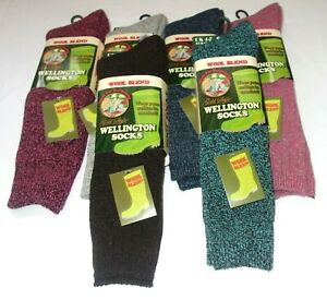 LADIES WOOL BLEND LONG WELLINGTON WELLY SOCKS HOSE 4-7 F.U.M. TOOLS FUM