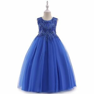 2b3ae46e76b40 Details about Flower Girls Dress Royal Blue Princess Wedding Party  Bridesmaid Prom Gown k59