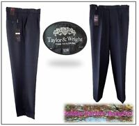 Taylor & Wright Mans Tailored Trousers W32 L31 Navy Flexi Waist