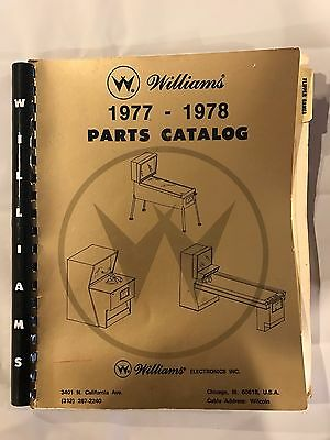Williams 1977-1978 Parts Catalog For Pinball And Arcade Games Skilful Manufacture Replacement Parts Arcade Gaming
