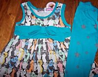 Jelly The Pug Colorful Gracie Dress/leggings Set 5 Girls Cats In Glasses