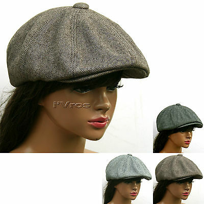 NEWSBOY THIN Tweed Twill 8 Panel GATSBY Cap Driving Flat Cabbie Hat /8T