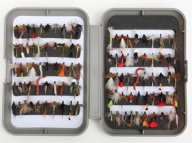 Fly box with Flies and Trout Flies Dry Wet Nymph Buzzer for Trout Fly Fishing G