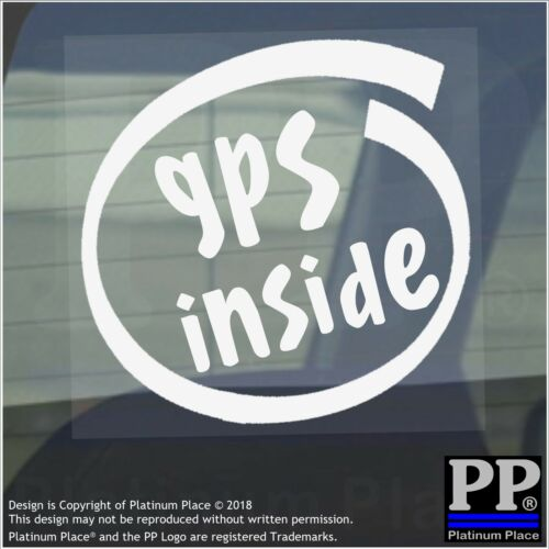 1 x GPS Inside-87x87mm-Internal Sticker-Police,Navigate,Tracking,Security,Car