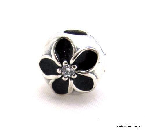1848d30a3 Authentic PANDORA Charm Mystic Floral CZ Black Enamel Clip Bead 791408CZ