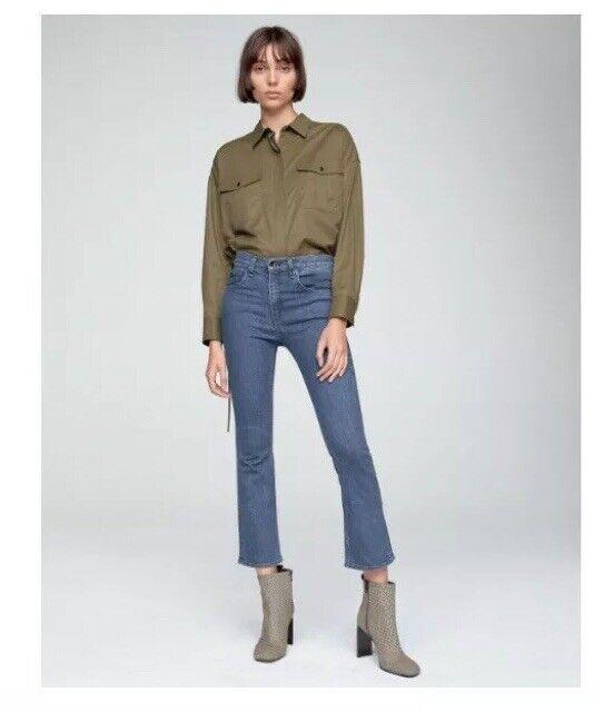 New Rag and Bone Hana Cropped Slim Fit Boot-Cut Jean Size 24 NWT
