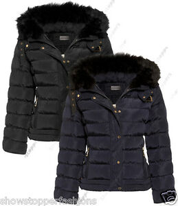 Size-8-10-12-14-16-Womens-QUILTED-Ladies-JACKET-COAT-PADDED-QUILTED-Navy-Black