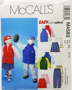 Girls-Boys-Sport-Jacket-Pull-on-Pants-Skirt-Sewing-Pattern-M4583-Size-6-7-8-New