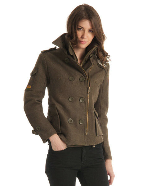 SUPERDRY ARMY GREEN REGIMENT WOOL BLEND WARM COAT SIZE XS
