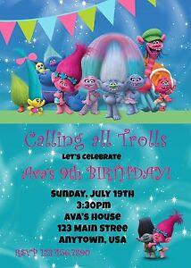 trolls birthday invitation invitations birthday trolls ebay