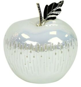 16cm-Decorative-Fruit-Apple-Blanc-amp-Haute-Brillance-Dolomite-LED-Clair